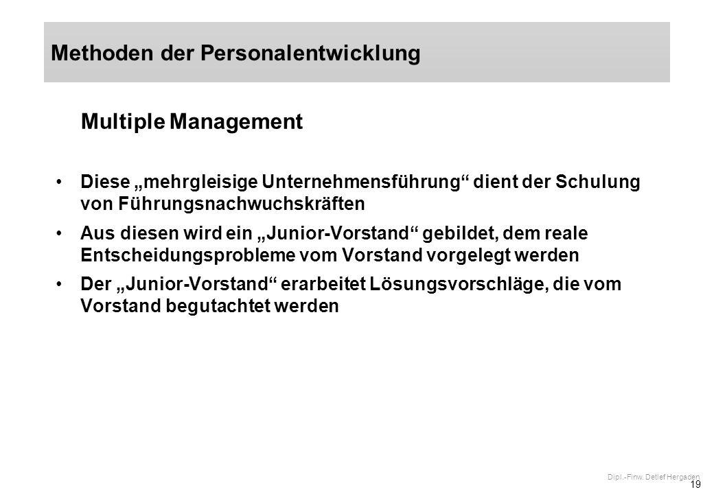 19 Dipl.-Finw. Detlef Hergaden Multiple Management Diese mehrgleisige Unternehmensführung dient der Schulung von Führungsnachwuchskräften Aus diesen w