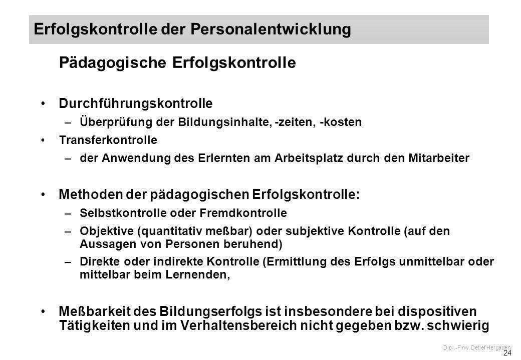 24 Dipl.-Finw. Detlef Hergaden Pädagogische Erfolgskontrolle Durchführungskontrolle –Überprüfung der Bildungsinhalte, -zeiten, -kosten Transferkontrol