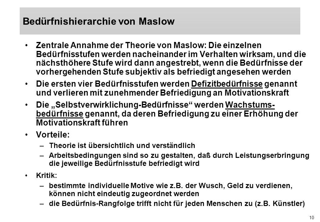 10 Zentrale Annahme der Theorie von Maslow: Die einzelnen Bedürfnisstufen werden nacheinander im Verhalten wirksam, und die nächsthöhere Stufe wird da