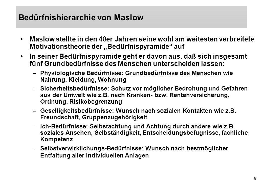 9 Quelle: Jung: Allgemeine BWL, München, Wien 1999, 927 Wachstums- bedürfnisse Defizit- bedürfnisse Bedürfnisse nach Selbstverwirklichung Ich-Bedürfnisse Geselligkeitsbedürfnisse Sicherheitsbedürfnisse Existensbedürfnisse (physiologische Bedürfnisse)