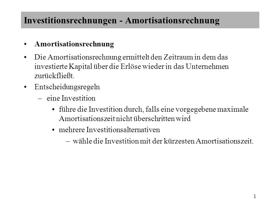 1 Amortisationsrechnung Die Amortisationsrechnung ermittelt den Zeitraum in dem das investierte Kapital über die Erlöse wieder in das Unternehmen zurü