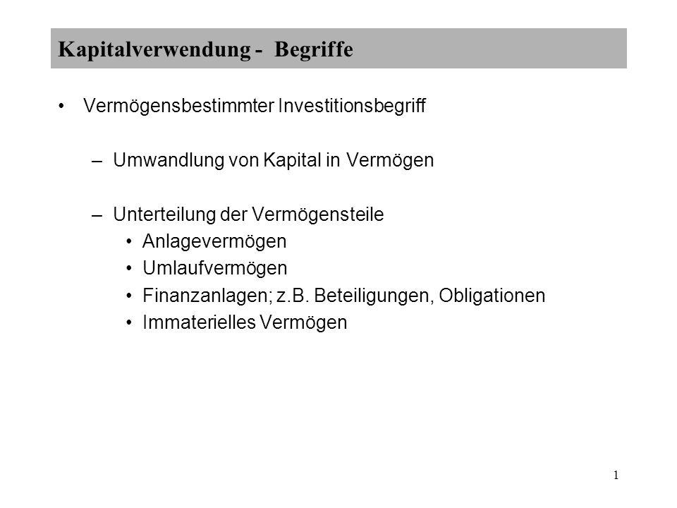 1 Kapitalverwendung - Begriffe Vermögensbestimmter Investitionsbegriff –Umwandlung von Kapital in Vermögen –Unterteilung der Vermögensteile Anlagevermögen Umlaufvermögen Finanzanlagen; z.B.