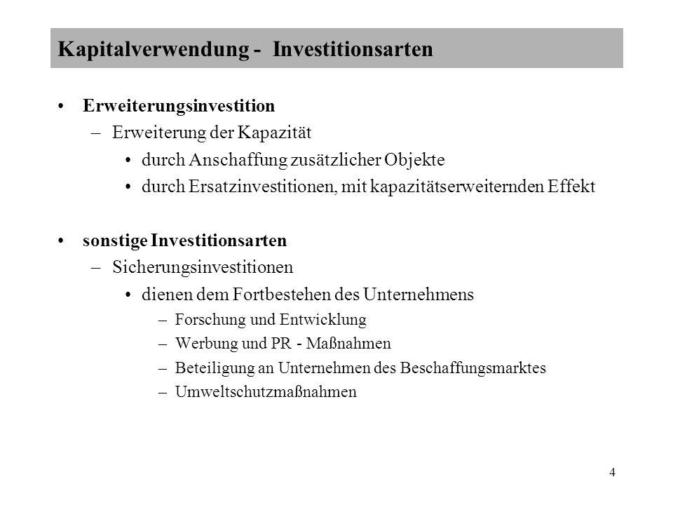 5 –Diversifizierungsinvestitionen Erschließung branchenfremder Märkte durch Beteiligung an Unternehmen –Auffächerung des Produktions - bzw.