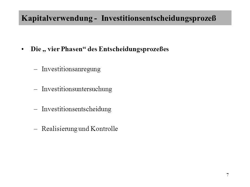 7 Die vier Phasen des Entscheidungsprozeßes –Investitionsanregung –Investitionsuntersuchung –Investitionsentscheidung –Realisierung und Kontrolle Kapitalverwendung - Investitionsentscheidungsprozeß