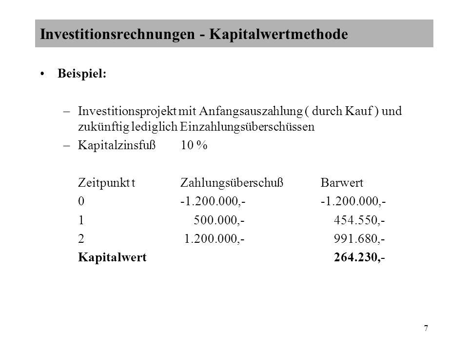 7 Beispiel: –Investitionsprojekt mit Anfangsauszahlung ( durch Kauf ) und zukünftig lediglich Einzahlungsüberschüssen –Kapitalzinsfuß10 % Zeitpunkt tZ