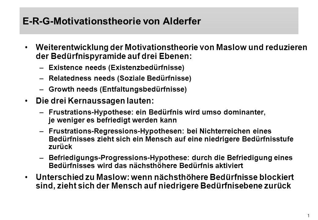1 Weiterentwicklung der Motivationstheorie von Maslow und reduzieren der Bedürfnispyramide auf drei Ebenen: –Existence needs (Existenzbedürfnisse) –Re