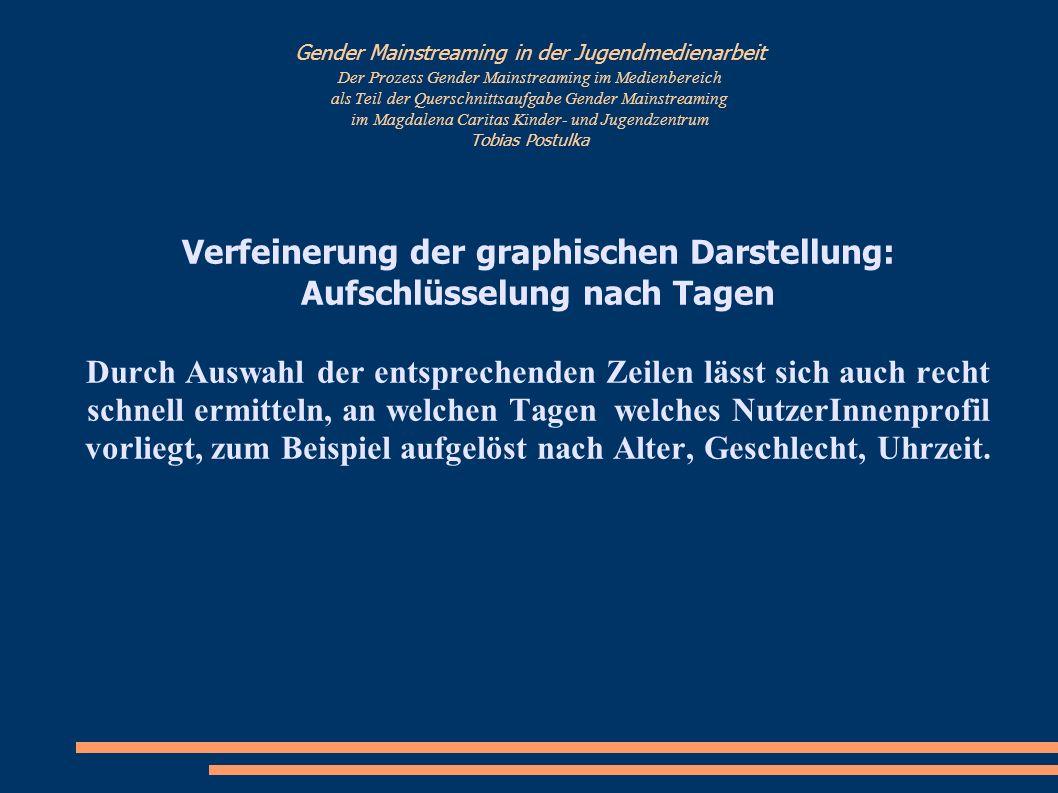 Gender Mainstreaming in der Jugendmedienarbeit Verfeinerung der graphischen Darstellung: Auflösung nach NutzerInnenprofil + Zeiten
