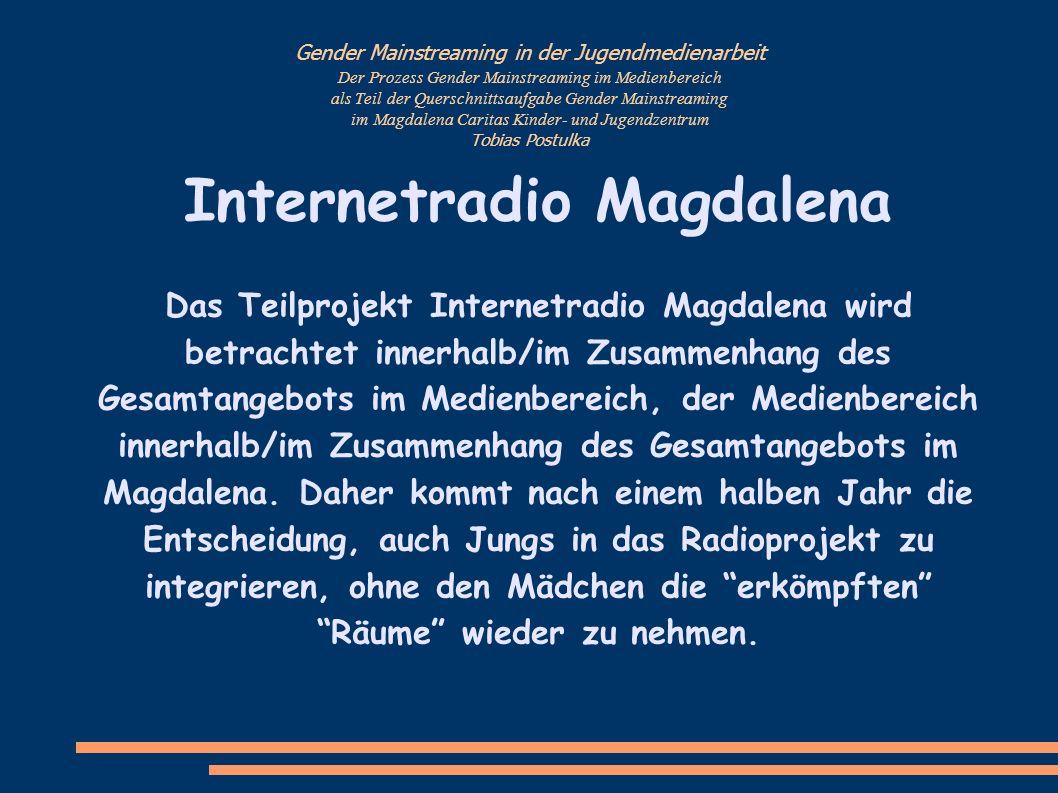 Gender Mainstreaming in der Jugendmedienarbeit Der Prozess Gender Mainstreaming im Medienbereich als Teil der Querschnittsaufgabe Gender Mainstreaming im Magdalena Caritas Kinder- und Jugendzentrum Tobias Postulka......