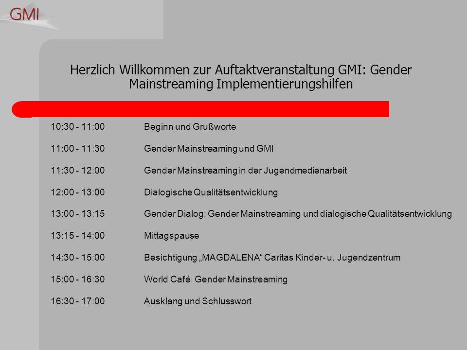 Herzlich Willkommen zur Auftaktveranstaltung GMI: Gender Mainstreaming Implementierungshilfen 10:30 - 11:00Beginn und Grußworte 11:00 - 11:30Gender Mainstreaming und GMI 11:30 - 12:00Gender Mainstreaming in der Jugendmedienarbeit 12:00 - 13:00Dialogische Qualitätsentwicklung 13:00 - 13:15Gender Dialog: Gender Mainstreaming und dialogische Qualitätsentwicklung 13:15 - 14:00Mittagspause 14:30 - 15:00Besichtigung MAGDALENA Caritas Kinder- u.