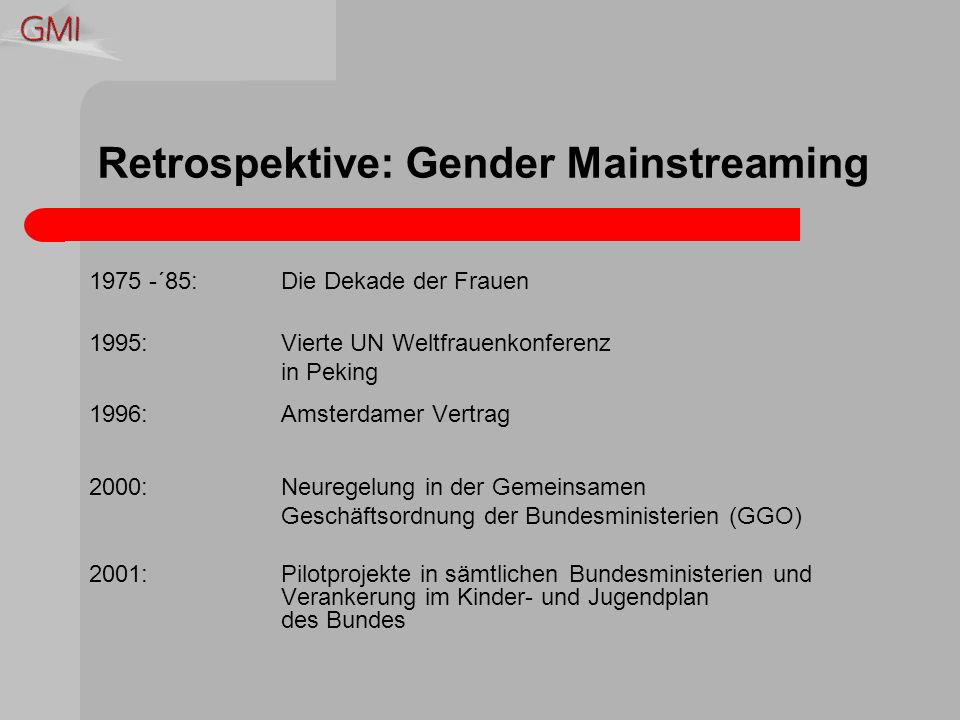 Gender Mainstreaming Gender meint die soziale Geschlechtszugehörigkeit Mainstreaming meint Hauptströmung, also die Integration von Gender – Perspektiven in unser Alltagshandeln Ziel ist die Realisierung von Chancengleichheit für alle Geschlechter