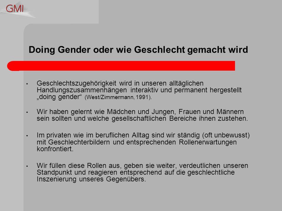 Doing Gender oder wie Geschlecht gemacht wird Geschlechtszugehörigkeit wird in unseren alltäglichen Handlungszusammenhängen interaktiv und permanent hergestellt doing gender (West/Zimmermann, 1991).