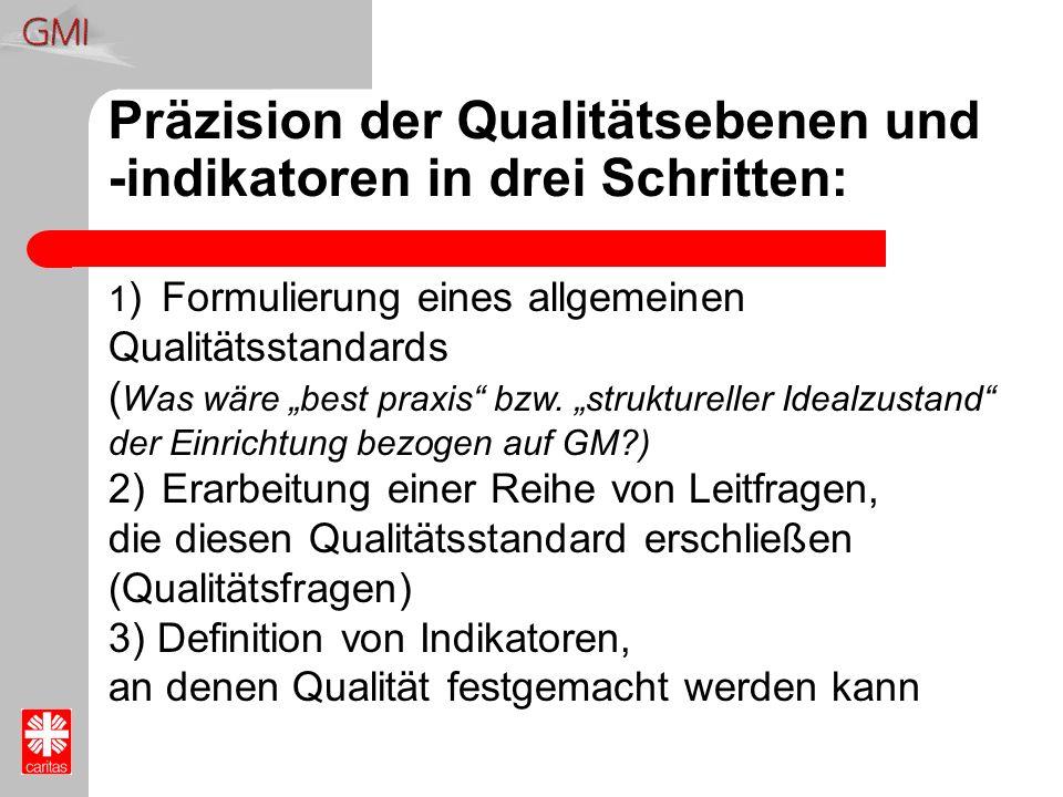 Präzision der Qualitätsebenen und -indikatoren in drei Schritten: 1 )Formulierung eines allgemeinen Qualitätsstandards ( Was wäre best praxis bzw. str