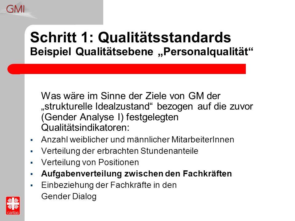 Schritt 1: Qualitätsstandards Beispiel Qualitätsebene Personalqualität Was wäre im Sinne der Ziele von GM der strukturelle Idealzustand bezogen auf di