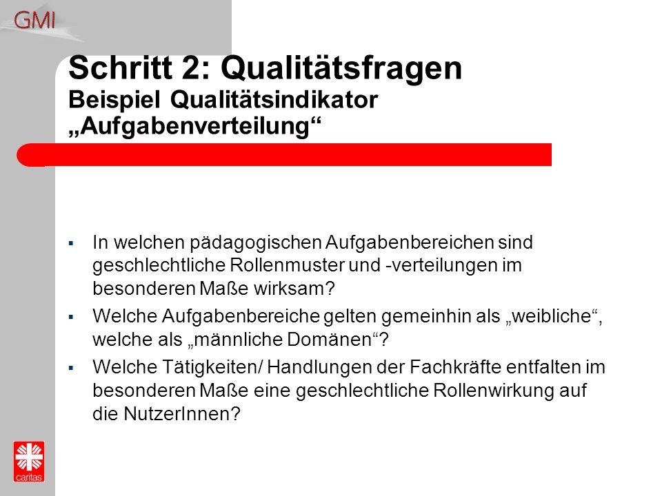 Schritt 2: Qualitätsfragen Beispiel Qualitätsindikator Aufgabenverteilung In welchen pädagogischen Aufgabenbereichen sind geschlechtliche Rollenmuster