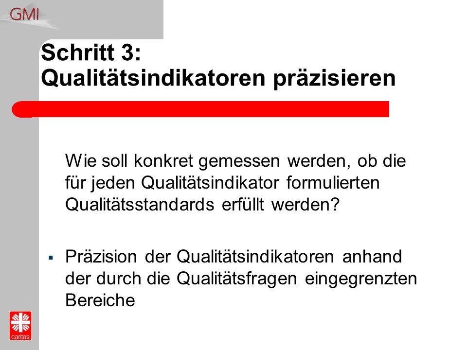 Schritt 3: Qualitätsindikatoren präzisieren Wie soll konkret gemessen werden, ob die für jeden Qualitätsindikator formulierten Qualitätsstandards erfü