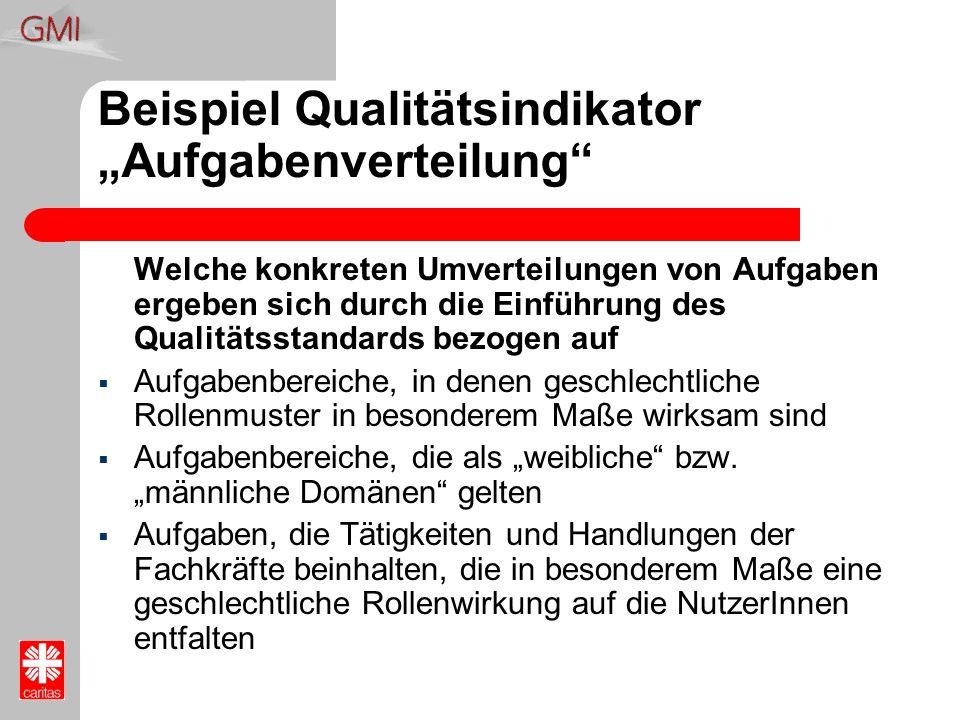 Beispiel Qualitätsindikator Aufgabenverteilung Welche konkreten Umverteilungen von Aufgaben ergeben sich durch die Einführung des Qualitätsstandards b