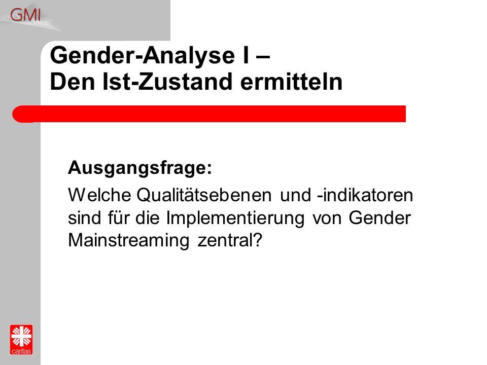 Gender-Analyse I – Den Ist-Zustand ermitteln Ausgangsfrage: Welche Qualitätsebenen und -indikatoren sind für die Implementierung von Gender Mainstream