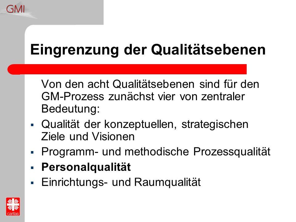 Eingrenzung der Qualitätsebenen Von den acht Qualitätsebenen sind für den GM-Prozess zunächst vier von zentraler Bedeutung: Qualität der konzeptuellen
