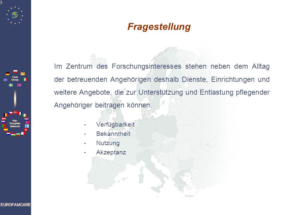 Pan- European Network Core Group EUROFAMCARE 4 Sechs-Länder-Vergleichsstudie In sechs nationalen Untersuchungen werden die konkreten Erfahrungen der pflegenden Angehörigen von älteren Menschen vor Ort erhoben.