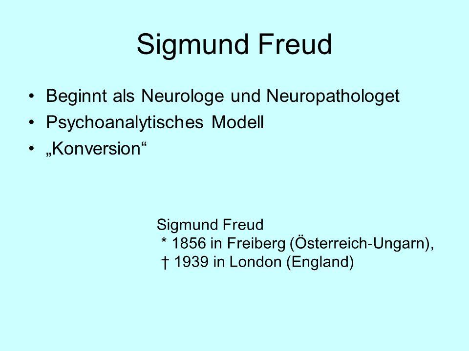 Sigmund Freud Beginnt als Neurologe und Neuropathologet Psychoanalytisches Modell Konversion Sigmund Freud * 1856 in Freiberg (Österreich-Ungarn), 193