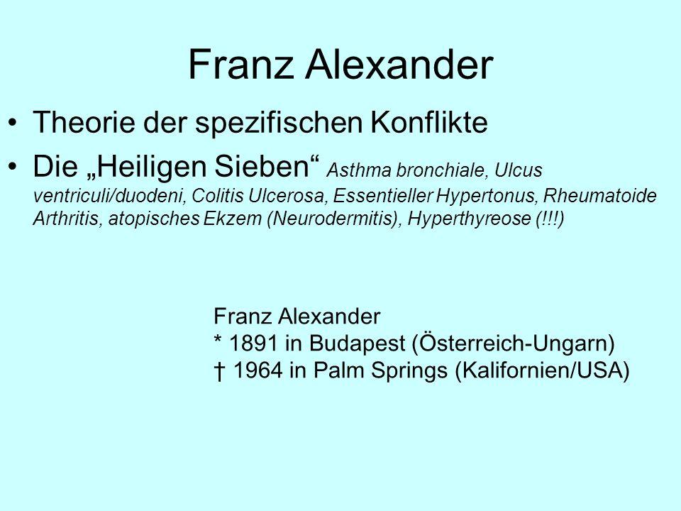 Franz Alexander Theorie der spezifischen Konflikte Die Heiligen Sieben Asthma bronchiale, Ulcus ventriculi/duodeni, Colitis Ulcerosa, Essentieller Hyp