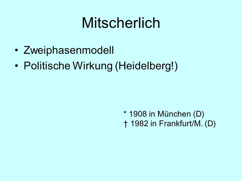 Mitscherlich Zweiphasenmodell Politische Wirkung (Heidelberg!) * 1908 in München (D) 1982 in Frankfurt/M. (D)