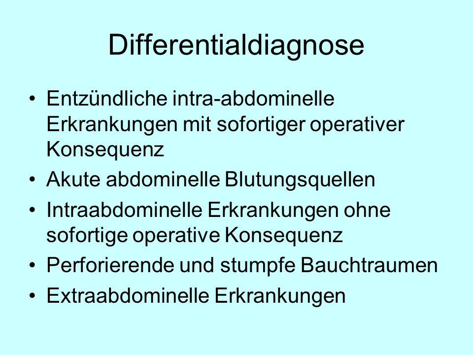 Entzündliche intra-abdominelle Erkrankungen mit sofortiger operativer Konsequenz Appendizitis Mechanischer Illeus (CA, Briden, Hernien) Strangulation Perforation Infarkte (a, v, okkl, n-okkl) Abszesse