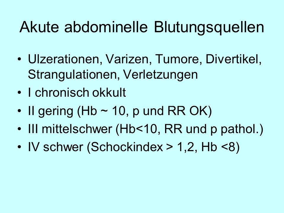 Akute abdominelle Blutungsquellen Ulzerationen, Varizen, Tumore, Divertikel, Strangulationen, Verletzungen I chronisch okkult II gering (Hb ~ 10, p un