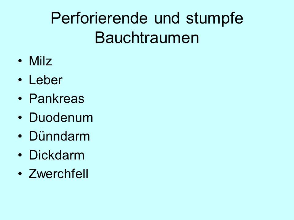 Perforierende und stumpfe Bauchtraumen Milz Leber Pankreas Duodenum Dünndarm Dickdarm Zwerchfell