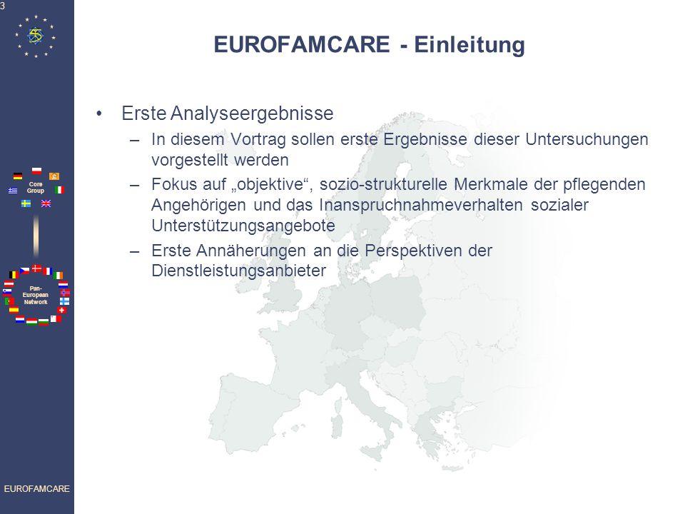 Pan- European Network Core Group EUROFAMCARE 3 EUROFAMCARE - Einleitung Erste Analyseergebnisse –In diesem Vortrag sollen erste Ergebnisse dieser Untersuchungen vorgestellt werden –Fokus auf objektive, sozio-strukturelle Merkmale der pflegenden Angehörigen und das Inanspruchnahmeverhalten sozialer Unterstützungsangebote –Erste Annäherungen an die Perspektiven der Dienstleistungsanbieter