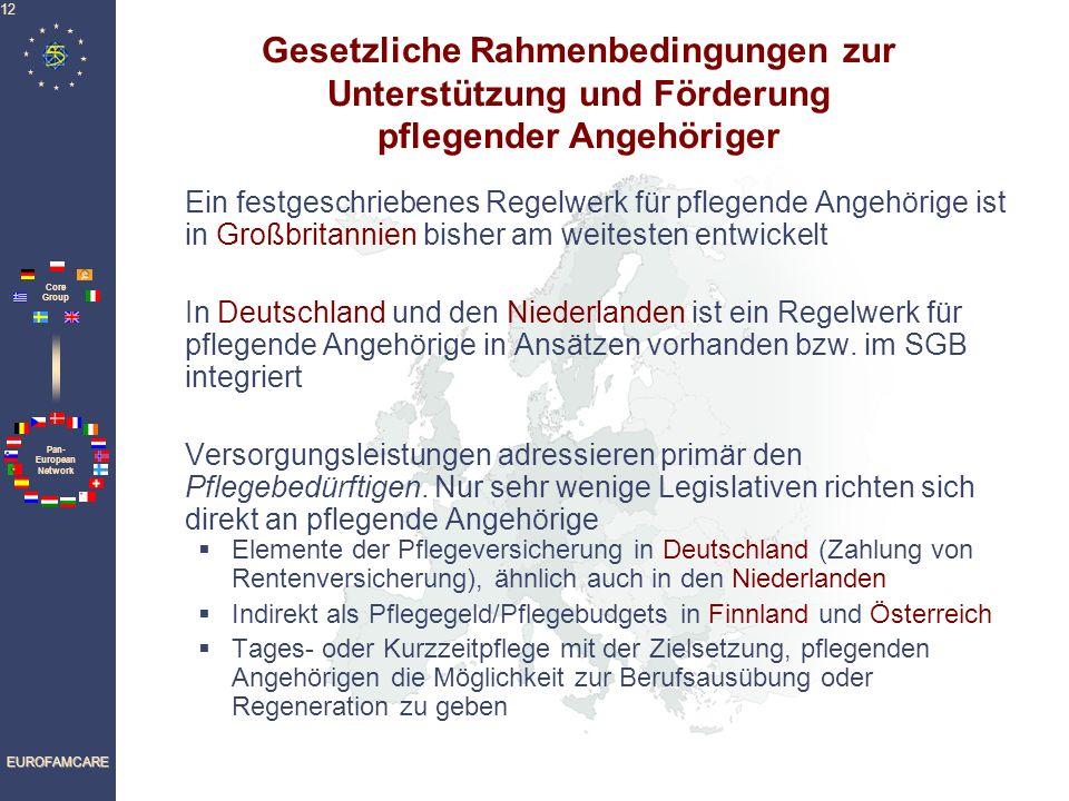Pan- European Network Core Group EUROFAMCARE 12 Gesetzliche Rahmenbedingungen zur Unterstützung und Förderung pflegender Angehöriger Ein festgeschriebenes Regelwerk für pflegende Angehörige ist in Großbritannien bisher am weitesten entwickelt In Deutschland und den Niederlanden ist ein Regelwerk für pflegende Angehörige in Ansätzen vorhanden bzw.