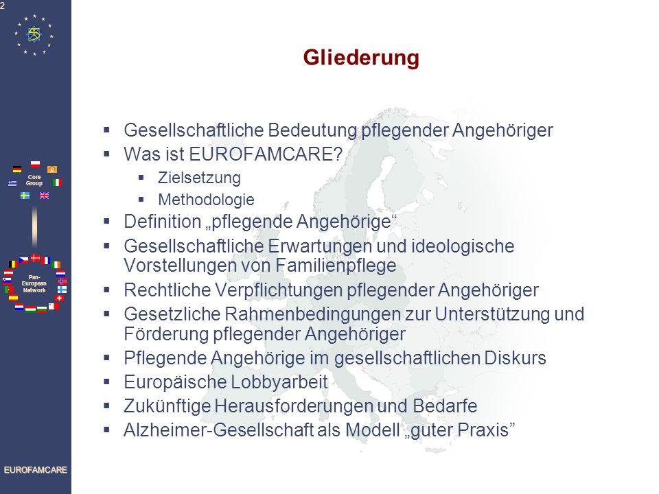 Pan- European Network Core Group EUROFAMCARE 2 Gliederung Gesellschaftliche Bedeutung pflegender Angehöriger Was ist EUROFAMCARE.