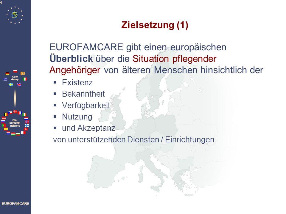 Pan- European Network Core Group EUROFAMCARE 4 Zielsetzung (1) EUROFAMCARE gibt einen europäischen Überblick über die Situation pflegender Angehöriger von älteren Menschen hinsichtlich der Existenz Bekanntheit Verfügbarkeit Nutzung und Akzeptanz von unterstützenden Diensten / Einrichtungen