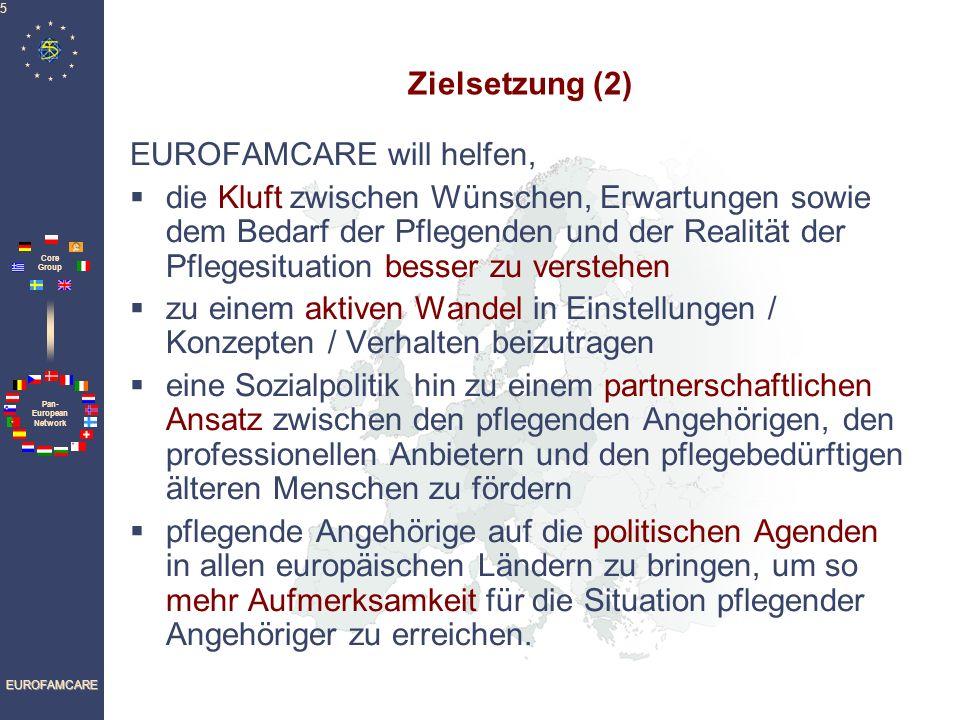 Pan- European Network Core Group EUROFAMCARE 6 Methodologie (1) Empirische Studien Sechs-Länder-Vergleichsstudie Empirische Untersuchungen wurden in 6 Ländern (Deutschland, Griechenland, Italien, Polen, Schweden und Großbritannien) mit Hilfe eines gemeinsamen, standardisierten Erhebungsinstruments durchgeführt.