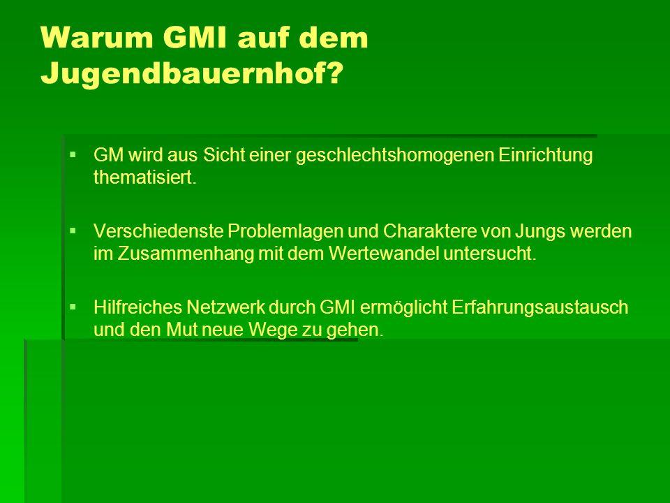 Warum GMI auf dem Jugendbauernhof? GM wird aus Sicht einer geschlechtshomogenen Einrichtung thematisiert. Verschiedenste Problemlagen und Charaktere v