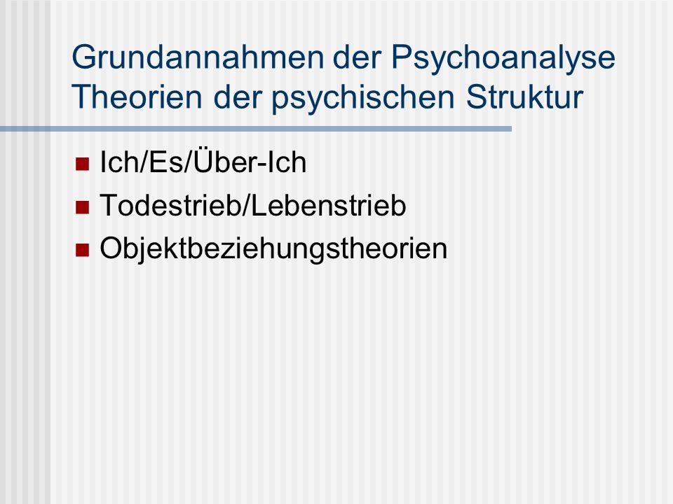 Grundannahmen der Psychoanalyse Theorien der psychischen Struktur Ich/Es/Über-Ich Todestrieb/Lebenstrieb Objektbeziehungstheorien