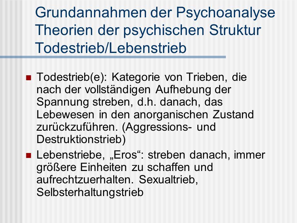 Grundannahmen der Psychoanalyse Theorien der psychischen Struktur Todestrieb/Lebenstrieb Todestrieb(e): Kategorie von Trieben, die nach der vollständi
