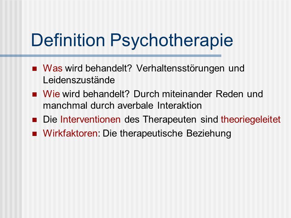 Definition Psychotherapie Was wird behandelt? Verhaltensstörungen und Leidenszustände Wie wird behandelt? Durch miteinander Reden und manchmal durch a