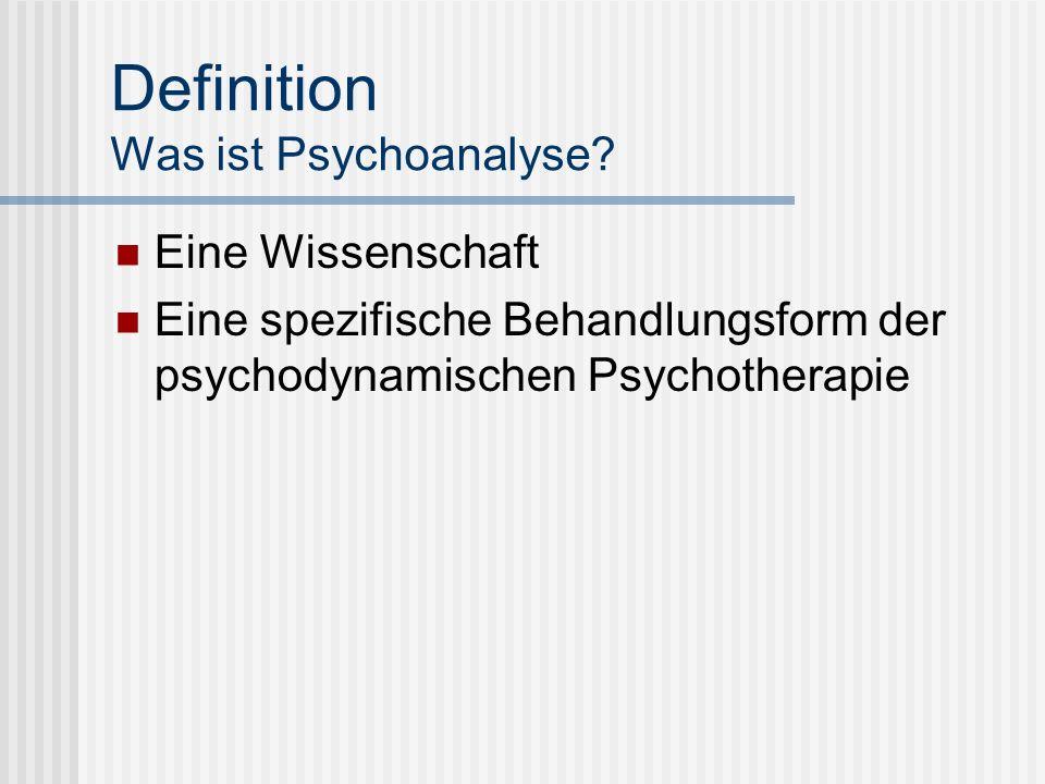 Definition Was ist Psychoanalyse? Eine Wissenschaft Eine spezifische Behandlungsform der psychodynamischen Psychotherapie