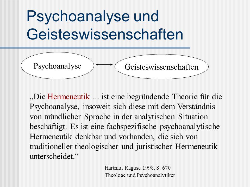 Psychoanalyse und Geisteswissenschaften Psychoanalyse Geisteswissenschaften Die Hermeneutik... ist eine begründende Theorie für die Psychoanalyse, ins