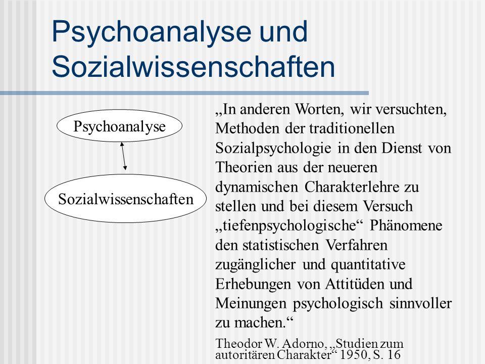 Psychoanalyse und Sozialwissenschaften Psychoanalyse Sozialwissenschaften In anderen Worten, wir versuchten, Methoden der traditionellen Sozialpsychol
