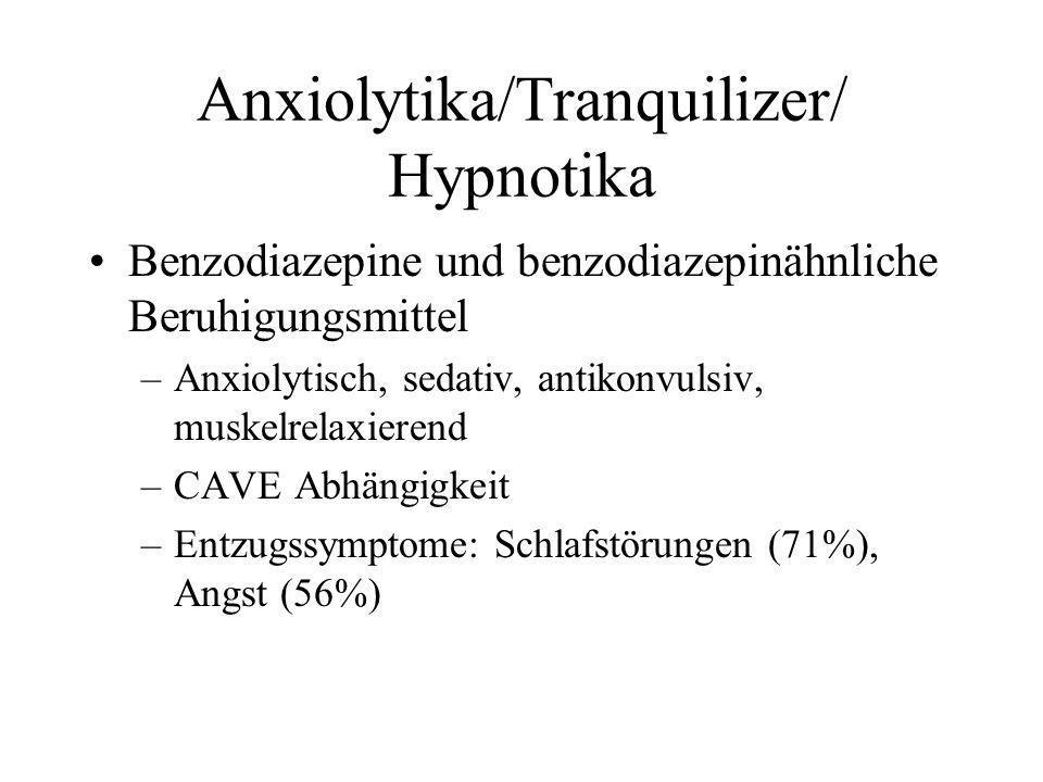 Anxiolytika/Tranquilizer/ Hypnotika Benzodiazepine und benzodiazepinähnliche Beruhigungsmittel –Anxiolytisch, sedativ, antikonvulsiv, muskelrelaxieren