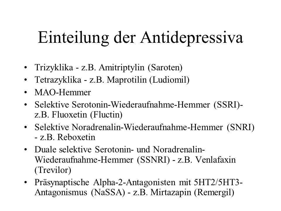 Einteilung der Antidepressiva Trizyklika - z.B. Amitriptylin (Saroten) Tetrazyklika - z.B. Maprotilin (Ludiomil) MAO-Hemmer Selektive Serotonin-Wieder