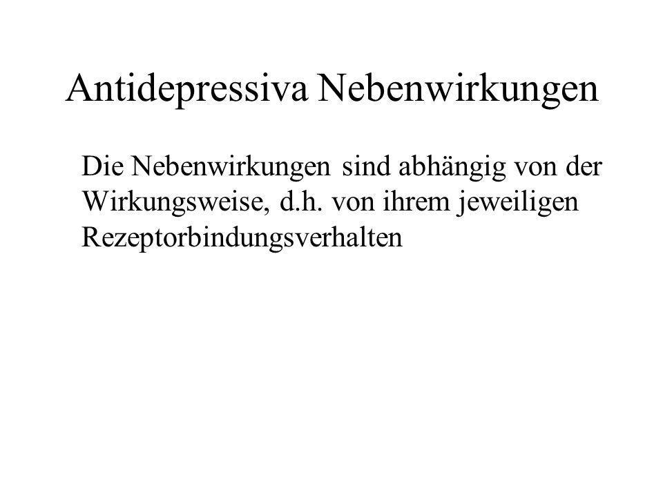 Antidepressiva Nebenwirkungen Die Nebenwirkungen sind abhängig von der Wirkungsweise, d.h. von ihrem jeweiligen Rezeptorbindungsverhalten