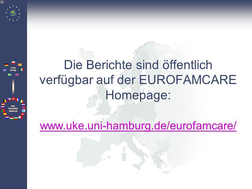 Pan- European Network Core Group 12 Die Berichte sind öffentlich verfügbar auf der EUROFAMCARE Homepage: www.uke.uni-hamburg.de/eurofamcare/ www.uke.u