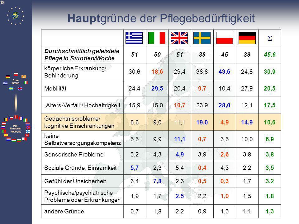 Pan- European Network Core Group 18 Hauptgründe der Pflegebedürftigkeit Durchschnittlich geleistete Pflege in Stunden/Woche 51505138453945,6 körperlic