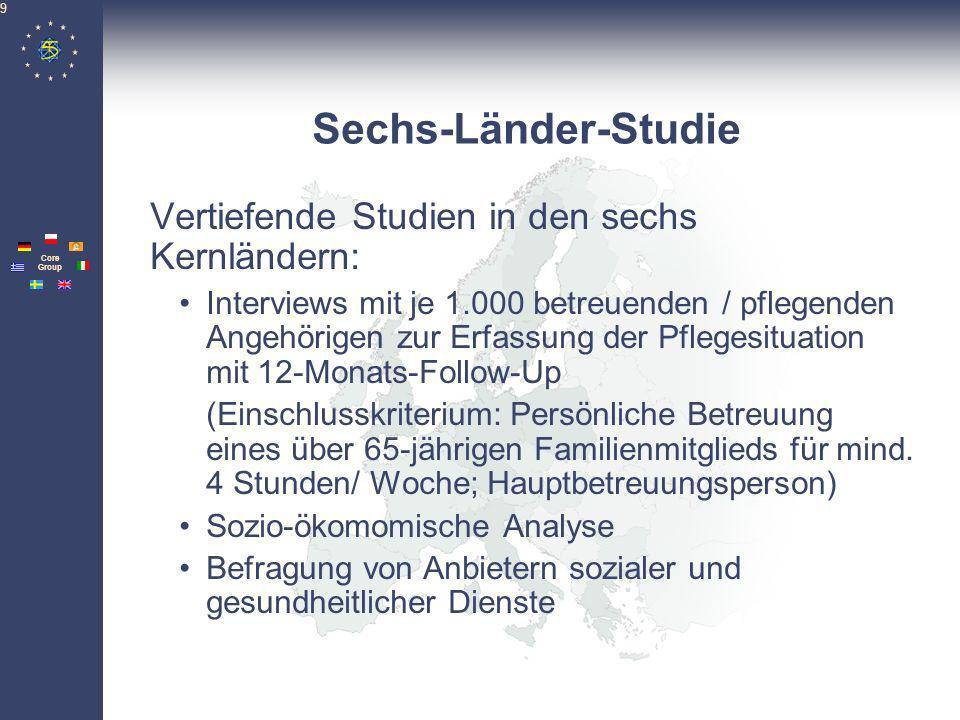 Pan- European Network Core Group 9 Sechs-Länder-Studie Vertiefende Studien in den sechs Kernländern: Interviews mit je 1.000 betreuenden / pflegenden