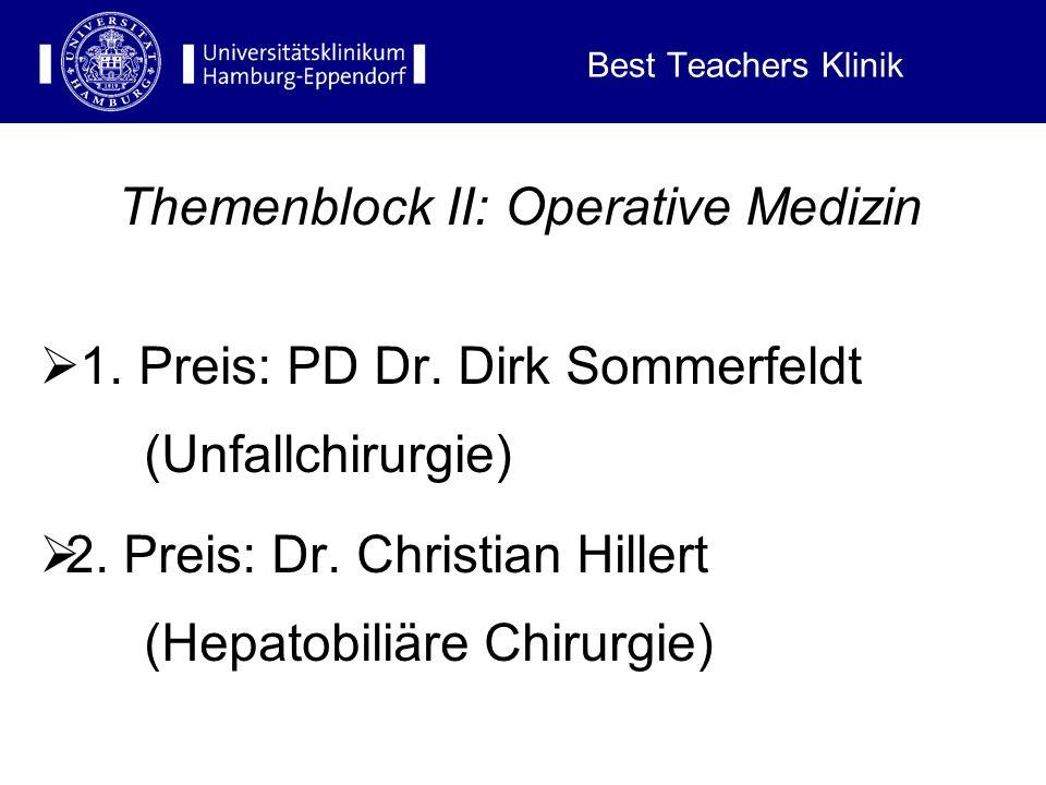 Best Teachers Klinik Themenblock I: Reproduktion und Schwangerschaft, Kindheit, Jugend und Adoleszenz 1. Preis: Prof. Dr. Bernd Hüneke (Geburtshilfe)