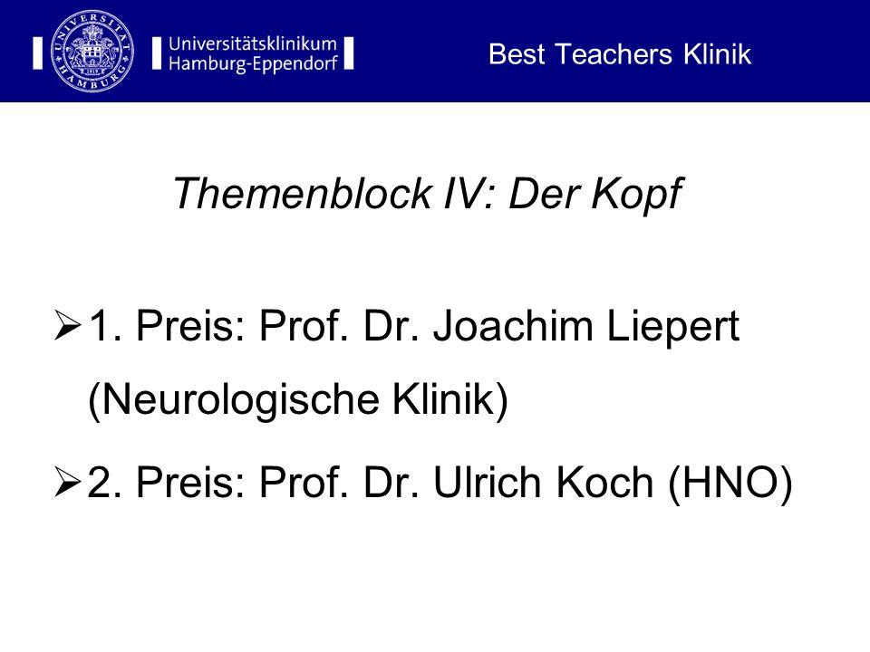Best Teachers Klinik Themenblock III: Der innere und äußere Mensch 1. Preis: PD Dr. A. Ebersdobler (Pathologie) 2. Preis: Dr. H. Klose (Innere Klinik