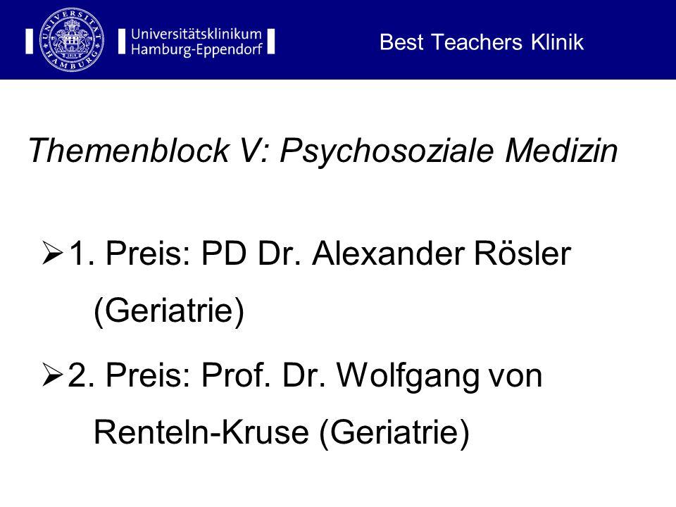 Best Teachers Klinik Themenblock IV: Der Kopf 1. Preis: Prof. Dr. Joachim Liepert (Neurologische Klinik) 2. Preis: Prof. Dr. Ulrich Koch (HNO)